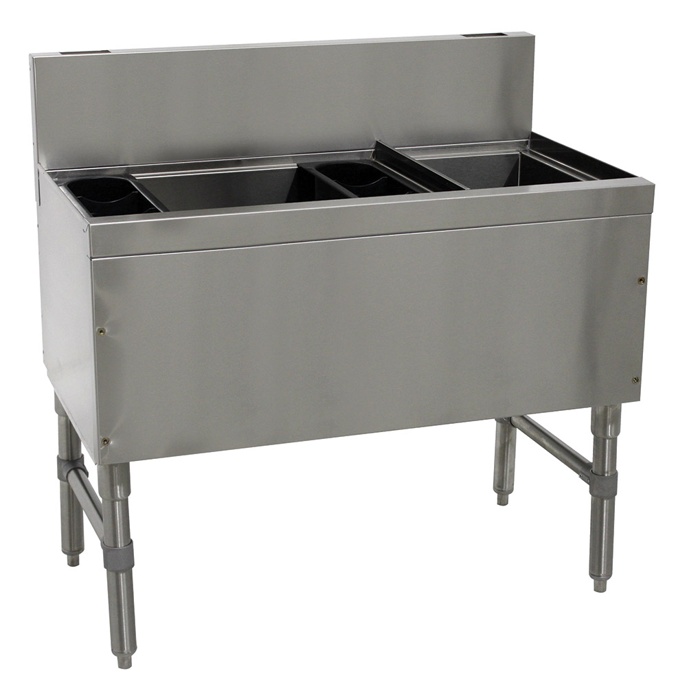 """Advance Tabco PRC-19-42L-10 42"""" Ice Chest w/ Right Bottle Storage Rack, 98/32-lb Ice, Stainless"""