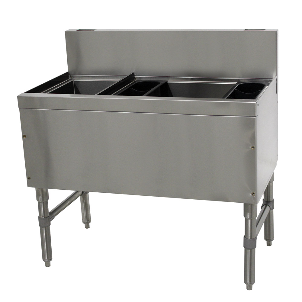 """Advance Tabco PRC-19-42R-10 42"""" Ice Chest w/ Left Bottle Storage Rack, 32/98-lb Ice, Stainless"""