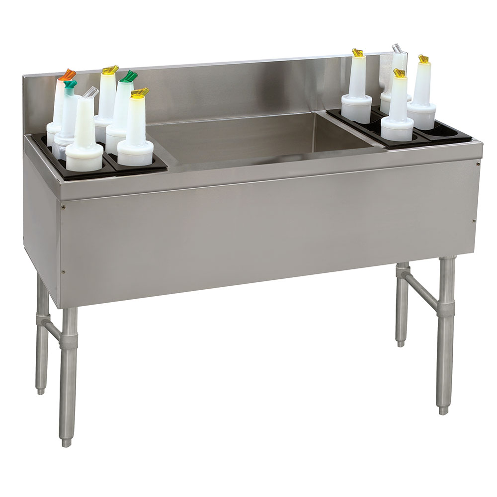 "Advance Tabco PRC-19-60LR 60"" Ice Chest w/ Left & Right Bottle Rack, No Coldplate, 19"" Front To Back"