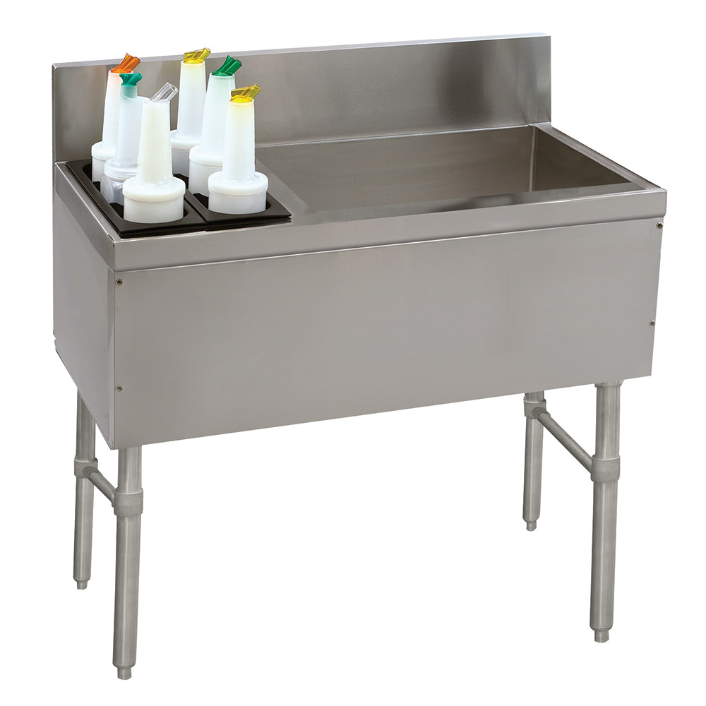"Advance Tabco PRC-24-36R 36"" Ice Chest w/ Left Bottle Storage Rack, No Coldplate, 70/32-lb Ice"