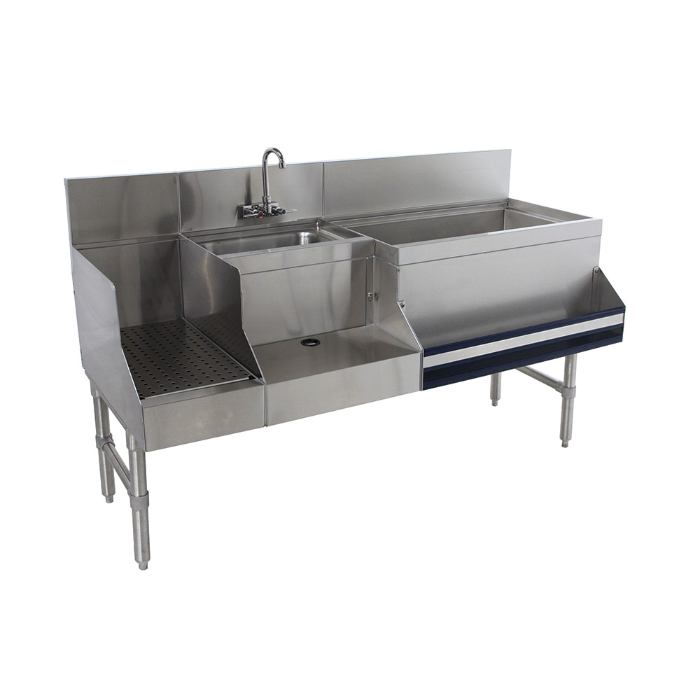 "Advance Tabco PRU-19-60R Uni-Serv Speed Bar w/ 11"" Right Ice Bin, Splash Mount Faucet, No Coldplate"
