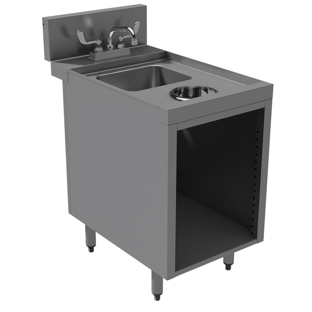 "Advance Tabco PRWC-24-18 18"" Open Wet Dry Waste Cabinet, 4"" Deck Mount Faucet"