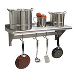 "Advance Tabco PS-12-120 120"" Shelf w/ Pot Rack - 9-Hooks, 12"" W, 18-ga 430-Stainless"