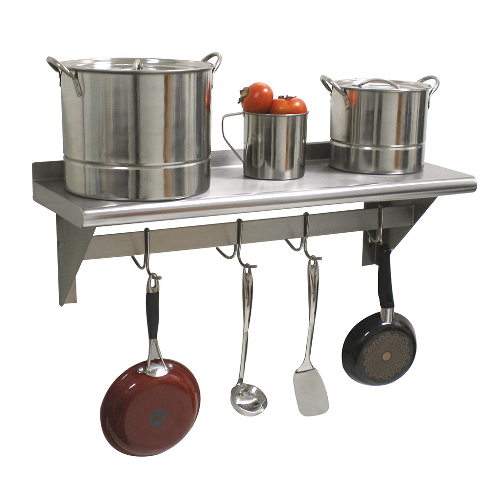 "Advance Tabco PS-12-144 144"" Shelf w/ Pot Rack - 9-Hooks, 12"" W, 18-ga 430-Stainless"