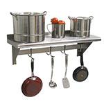"Advance Tabco PS-18-144 144"" Shelf w/ Pot Rack - 9-Hooks, 18"" W, 18-ga 430-Stainless"