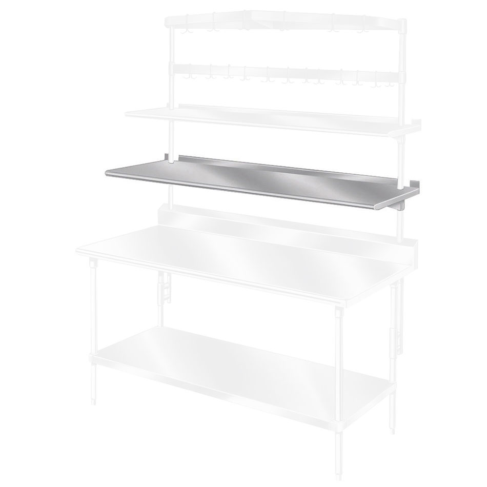 "Advance Tabco PT-10S-144 144"" Table Mount Shelf - 1-Deck, Splash-Mount, 10"" W, Stainless"