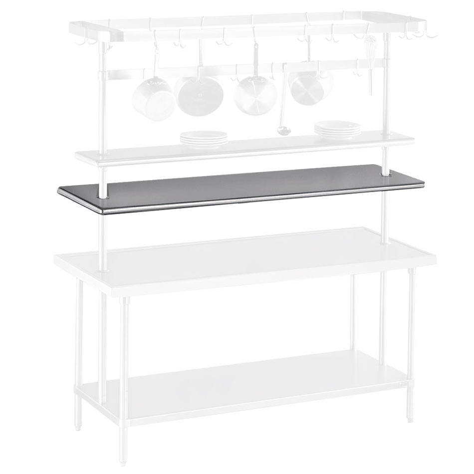 "Advance Tabco PT-15-48 48"" Table Mount Shelf - 1-Deck, Mid-Mount, 15"" W, Stainless"