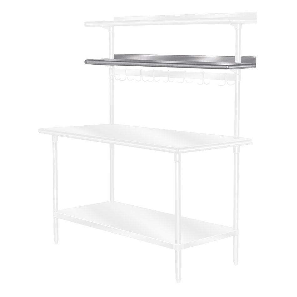 "Advance Tabco PT-15R-144 144"" Table Mount Shelf - 1-Deck, Rear-Mount, 15"" W, Stainless"