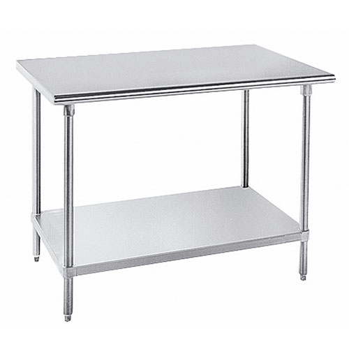 "Advance Tabco SAG-248 96"" 16-ga Work Table w/ Undershelf & 430-Series Stainless Flat Top"