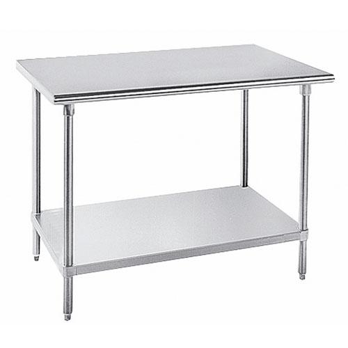 "Advance Tabco SAG-3611 132"" 16-ga Work Table w/ Undershelf & 430-Series Stainless Flat Top"