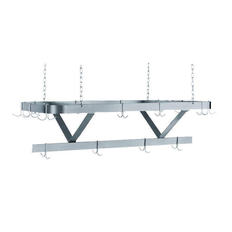 "Advance Tabco SC-96 96"" Ceiling-Mount Pot Rack w/ (18) Double Hooks, Steel"