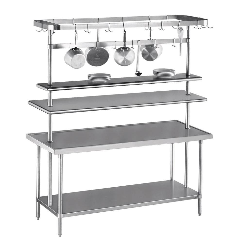 "Advance Tabco SCT-144 144"" Table-Mount Pot Rack w/ (18) Hooks, Stainless Steel"