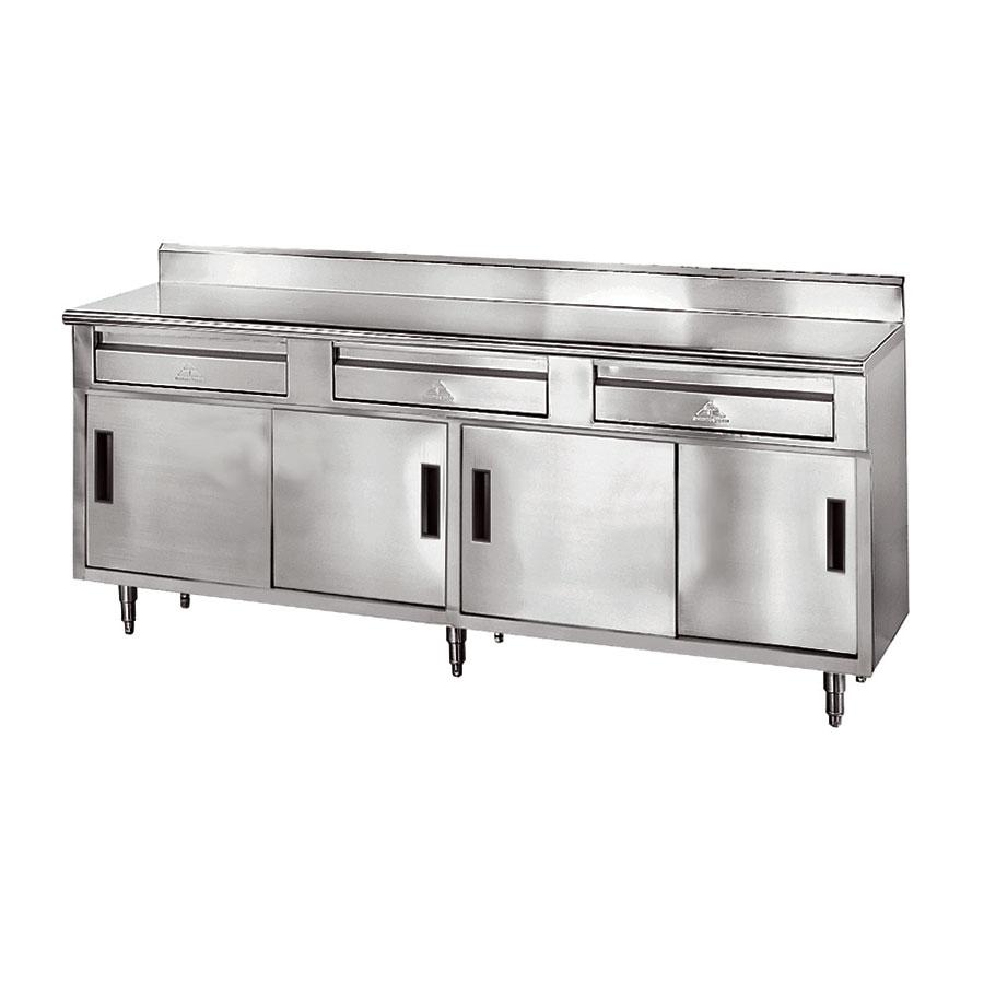 "Advance Tabco SDRC-306 72"" Enclosed Work Table w/ Sliding Doors & 5"" Backsplash, 30""D"