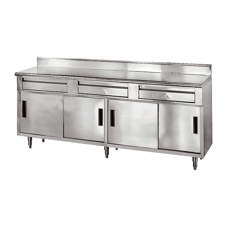 "Advance Tabco SDRC-307 84"" Enclosed Work Table w/ Sliding Doors & 5"" Backsplash, 30""D"
