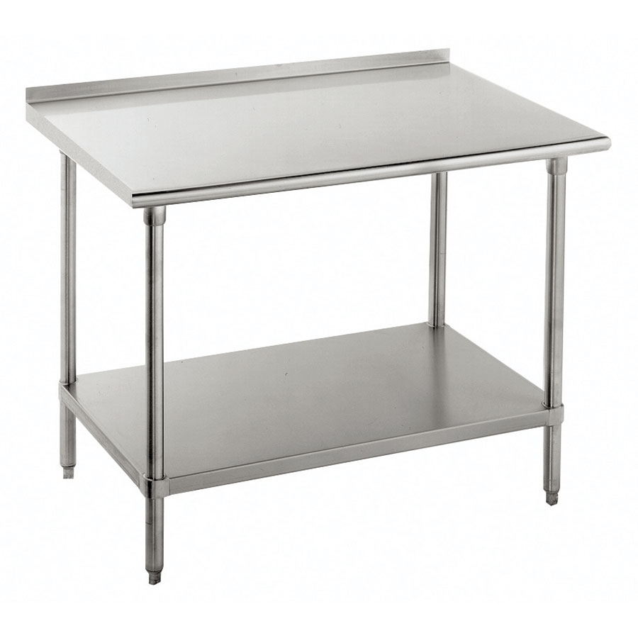 "Advance Tabco SFG-307 84"" 16-ga Work Table w/ Undershelf & 430-Series Stainless Flat Top"