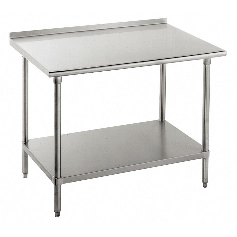 "Advance Tabco SFG-308 96"" 16-ga Work Table w/ Undershelf & 430-Series Stainless Flat Top"