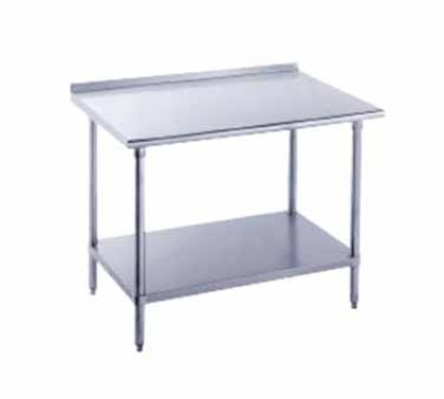 Advance Tabco SFG-247 Work Table 24 in W 84 in L All SS 430 SS Top 16 Gauge 1-1/2 Backsplash Restaurant Supply