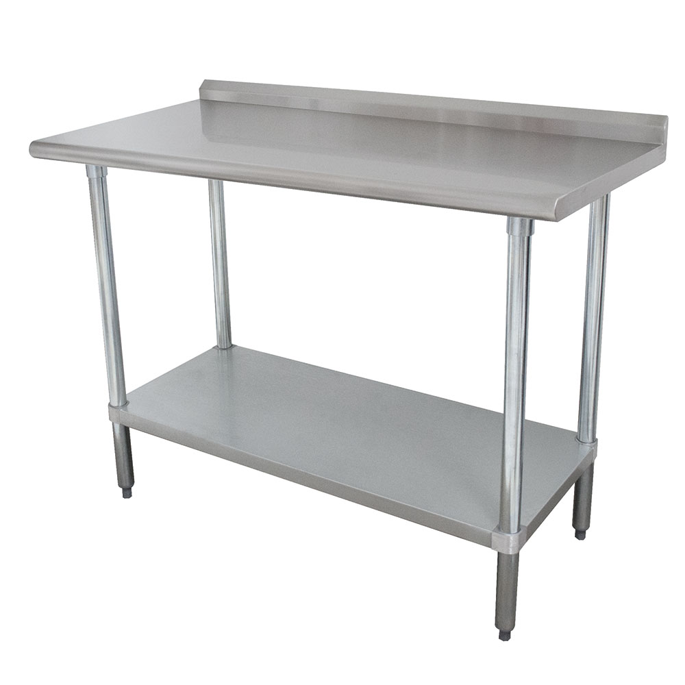 "Advance Tabco SFLAG-304 48"" 16-ga Work Table w/ Undershelf & 430-Series Stainless Top, 1.5"" Backsplash"