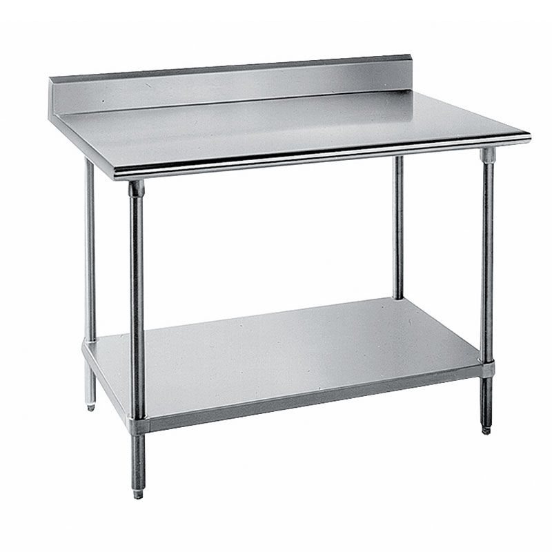 "Advance Tabco SKG-368 96"" 16-ga Work Table w/ Undershelf & 430-Series Stainless Top, 5"" Backsplash"