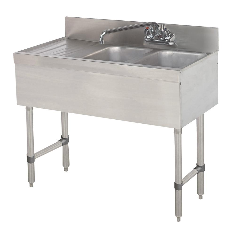 """Advance Tabco SLB-32L 36"""" 2-Compartment Sink w/ 10""""L x 14""""W Bowl, 10"""" Deep"""