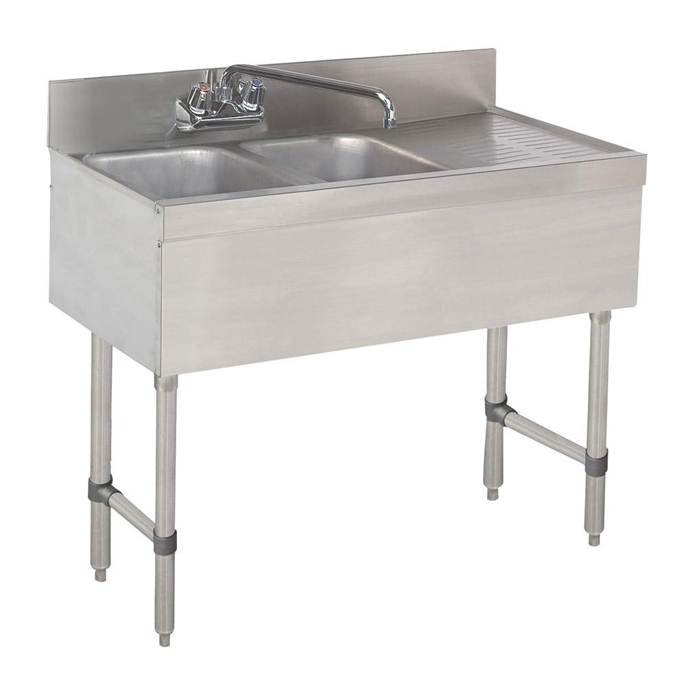 "Advance Tabco SLB-42R 48"" 2-Compartment Sink w/ 10""L x 14""W Bowl, 10"" Deep"