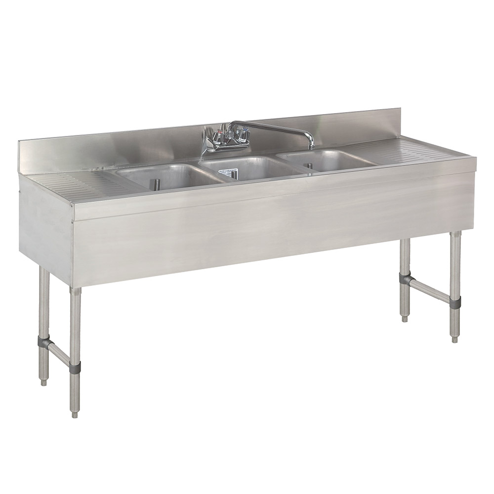 "Advance Tabco CRB-63C-X 72"" 3-Compartment Sink w/ 10""L x 14""W Bowl, 10"" Deep"