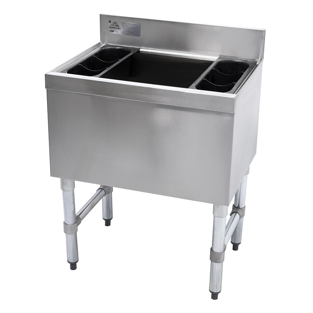 "Advance Tabco SLI-16-24-7 24"" Slimline Cocktail Unit w/ 16"" Chest, Post Mix Cold Plate, 150-lb Ice"