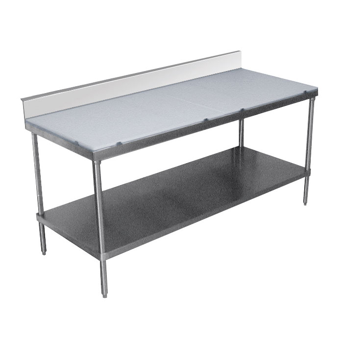 "Advance Tabco SPS-249 108"" Poly Top Work Table w/  6"" Backsplash & 5/8"" Top, Stainless Base, 24""D"