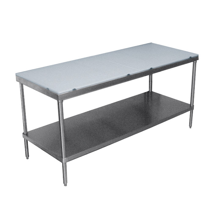 "Advance Tabco SPT-248 96"" Poly Top Work Table w/  5/8"" Top, Stainless Base, 24""D"