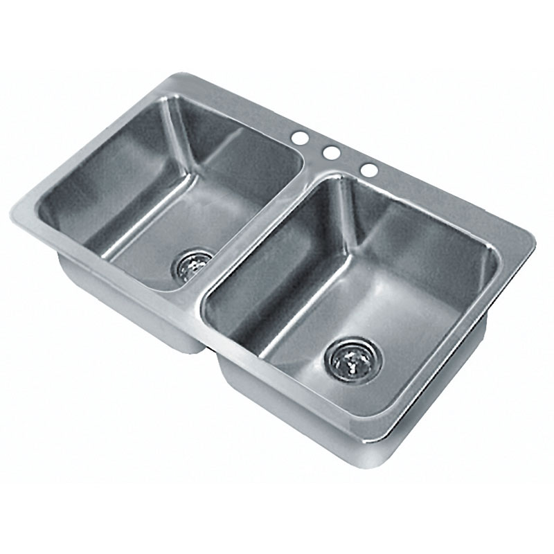 "Advance Tabco SS-2-3321-10 (2) Compartment Drop-in Sink - 14"" x 16"", Drain Included"