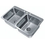 "Advance Tabco SS-2-3321-12 (2) Compartment Drop-in Sink - 14"" x 16"", Drain Included"