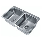 "Advance Tabco SS-2-4521-10 Drop-In Sink - (2) 20x16x10"" Bowl, 18-ga 304-Stainless"
