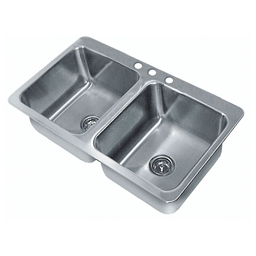 "Advance Tabco SS-2-4521-12 (2) Compartment Drop-in Sink - 20"" x 16"", Drain Included"