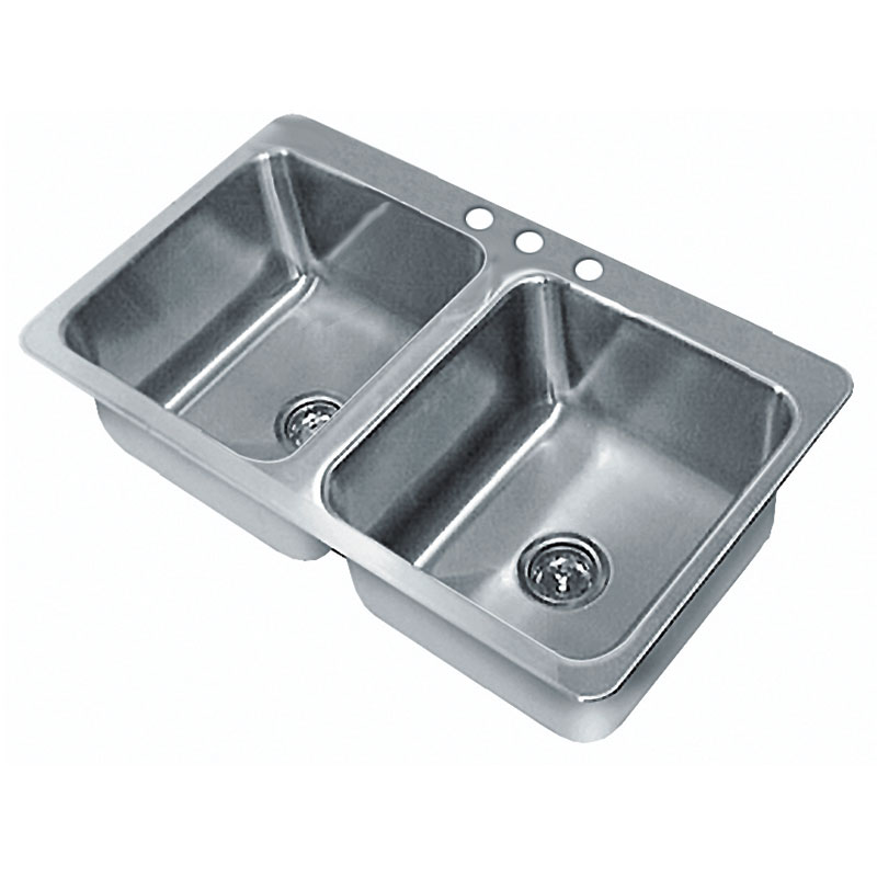 "Advance Tabco SS-2-4521-7RE Residential Drop-In Sink - (2) 20x16x7.5"" Bowl, 18-ga 304-Stainless"
