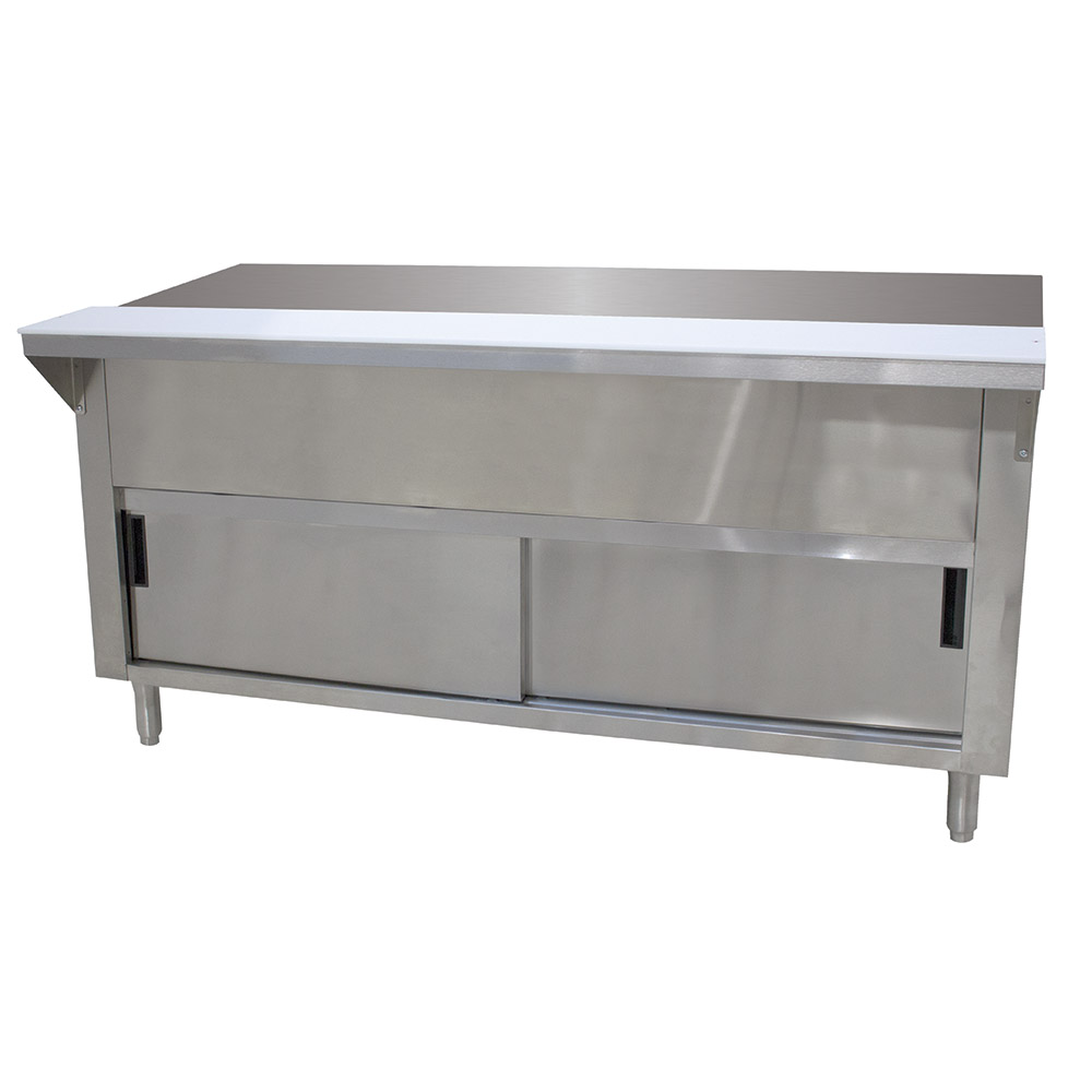 "Advance Tabco STU-4-DR Solid Top Table, Cabinet Base w/ Sliding Doors, 62-3/8"", Stainless"