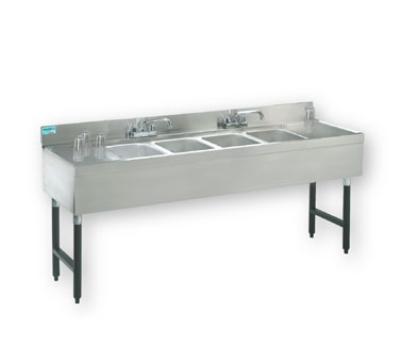"Advance Tabco SLB-84C 96"" 4-Compartment Sink w/ 10""L x 14""W Bowl, 10"" Deep"