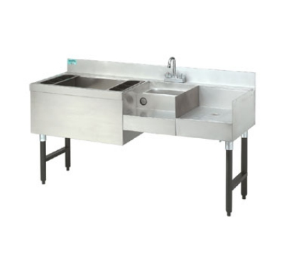 "Advance Tabco CRU-60L 60"" Challenger Uni-Serv Speed Bar w/ Left Ice Bin & Dump Sink"