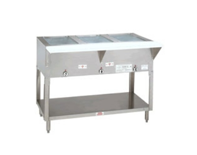 "Advance Tabco HF-3G-LP-X 34"" Hot Food Table w/ 3-Wells, Open Base w/ Undershelf, LP"