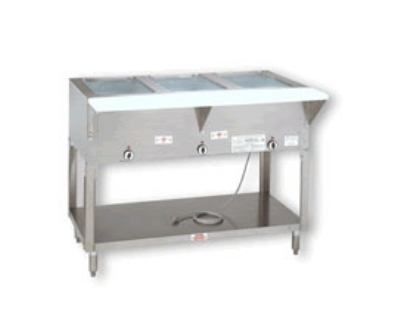 Advance Tabco HF-3E-120-X 34-in Hot Food Table w/ 3-Wells, Open Stainless Base w/ Undershelf