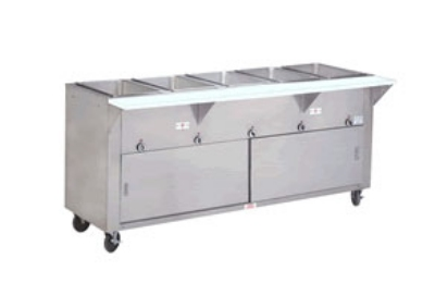 "Advance Tabco HF-4G-NAT-DR 34"" Hot Food Table w/ 4-Stainless Wells, Cabinet Base w/ Open Undershelf, NG"
