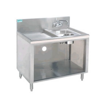 "Advance Tabco PRWC-19-18 18"" Open Wet Dry Waste Cabinet, 4"" Splash Mount Faucet, Stainless"