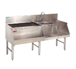 "Advance Tabco PRU-19-60L Uni-Serv Speed Bar w/ 11"" Left Ice Bin, Splash Mount Faucet, No Coldplate"