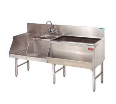 "Advance Tabco PRU-24-60R Uni-Serv Speed Bar w/ 11"" Right Ice Bin, Deck Mount Faucet, No Coldplate"