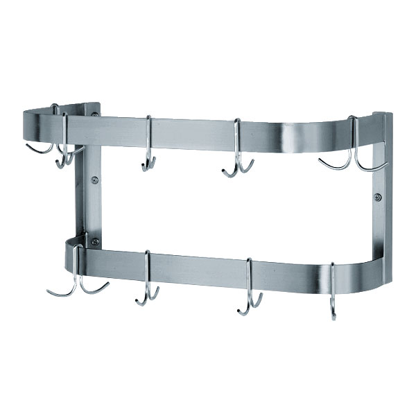 "Advance Tabco SW-144 144"" Wall-Mount Pot Rack w/ (18) Double Hooks, Stainless Steel"