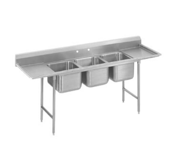 Advance Tabco T9-23-60-24RLH 115 in SS Sink, 3 compartment, Right & Left Drainboards, 14 in Deep