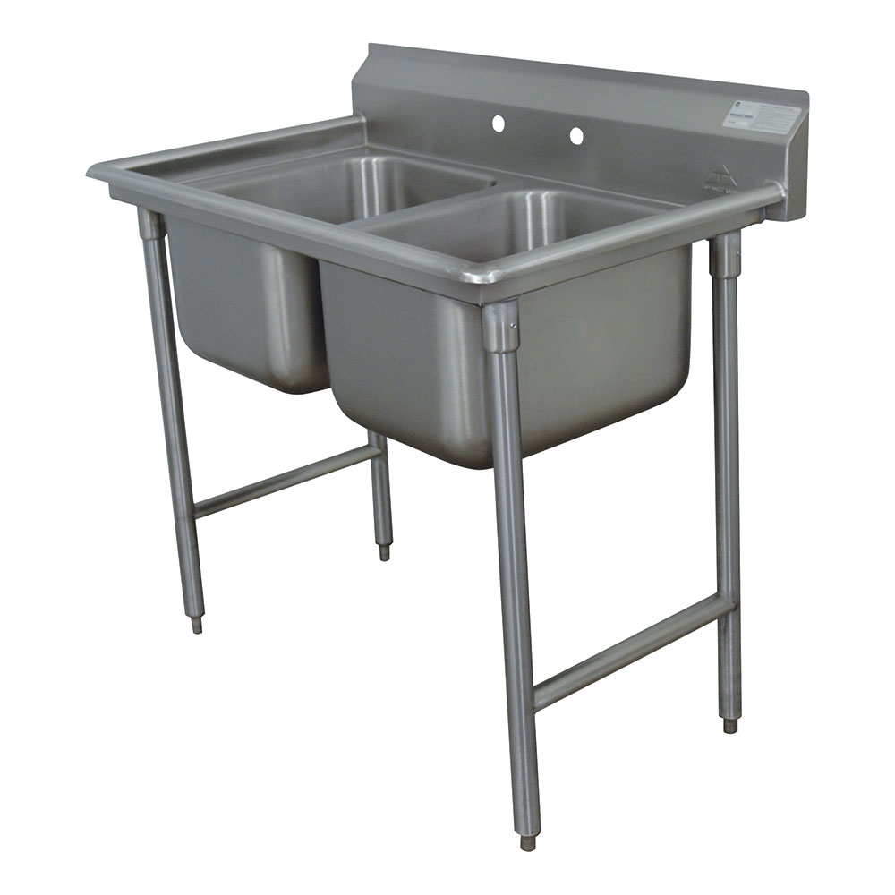 "Advance Tabco T9-2-36-X 103"" 3-Compartment Sink w/ 20""L x 20""W Bowl, 12"" Deep"