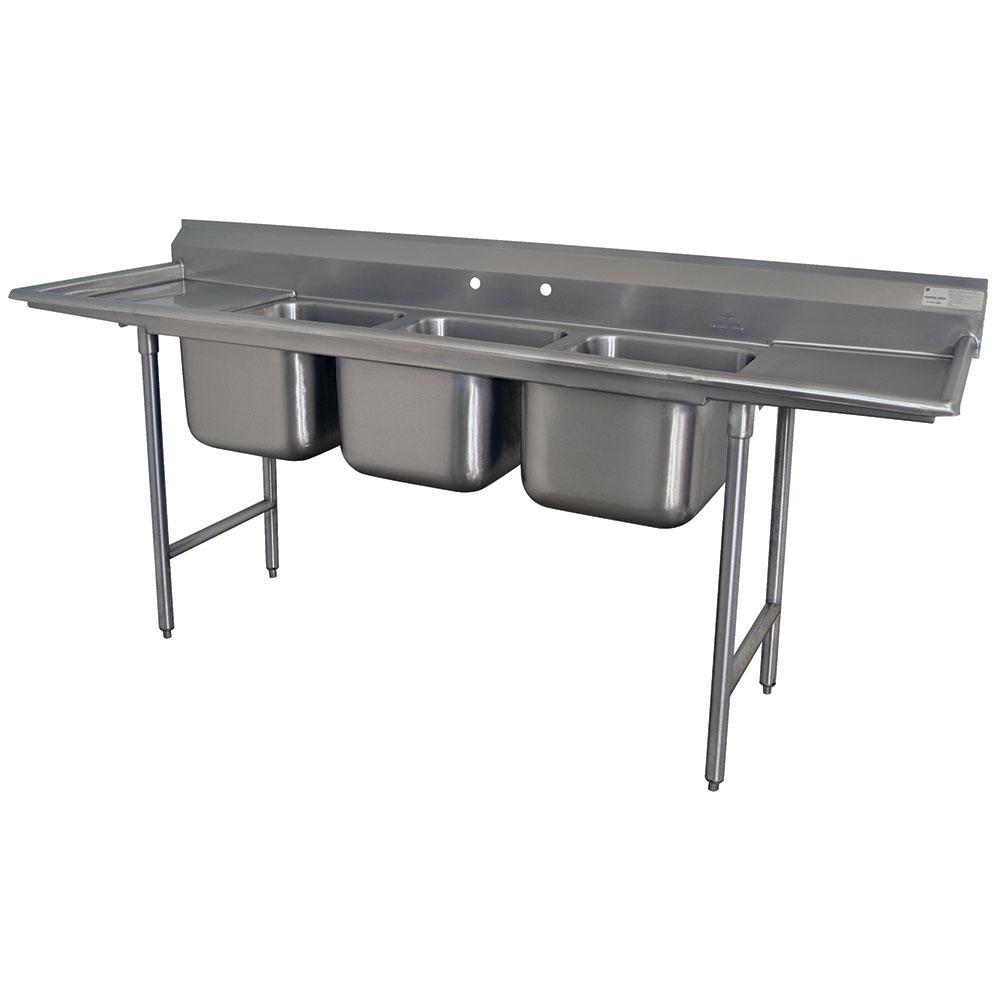 """Advance Tabco T9-3-54-18RL-X 62"""" 3-Compartment Sink w/ 16""""L x 20""""W Bowl, 12"""" Deep"""