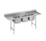 Advance Tabco T9-3-54-24RL Sink, (2) 20 x 16 x 12-in Deep w/ 8-in Splash & 24-in L & R Drainboards, 16/304