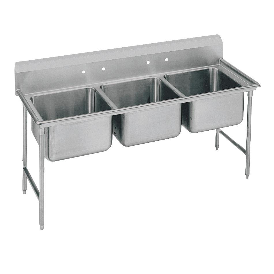 """Advance Tabco T9-3-54-X 77"""" 3-Compartment Sink w/ 16""""L x 20""""W Bowl, 12"""" Deep"""