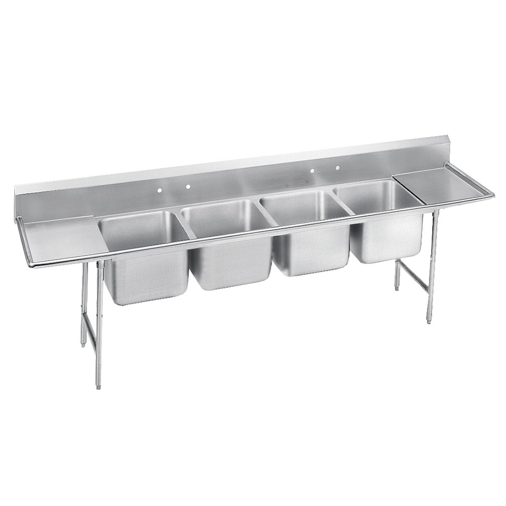 "Advance Tabco T9-4-72-18RL-X 110"" 4-Compartment Sink w/ 16""L x 20""W Bowl, 12"" Deep"